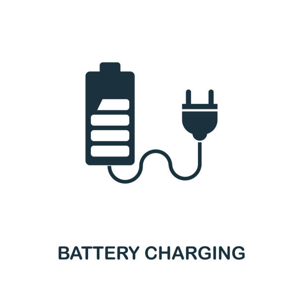 Battery Charging icon. Monochrome style design from power and energy icon collection. UI. Pixel perfect simple pictogram battery charging icon. Web design, apps, software, print usage. Battery Charging icon. Monochrome style design from power and energy collection. UI. Pixel perfect simple pictogram battery charging icon. Web design, apps, software, print usage. rechargeable battery stock illustrations