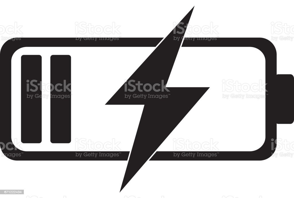 Battery charging icon vector art illustration