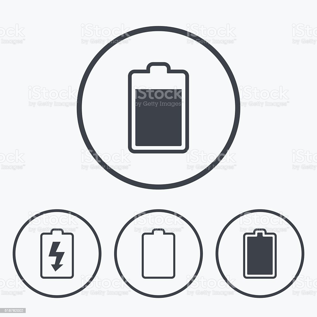 Battery Charging Icons Electricity Symbol Stock Vector Art & More ...