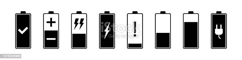 istock Battery charging icons. Flat vector illustration isolated on white 1316005968