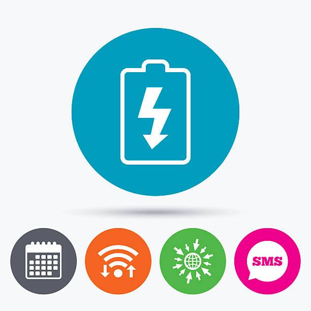 Battery Charging Sign Icon Lightning Symbol Stock Vector Art