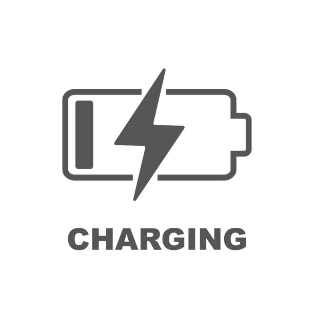Battery Charging vector icon Battery Charging vector icon. Black color on white background. EPS 10 battery stock illustrations