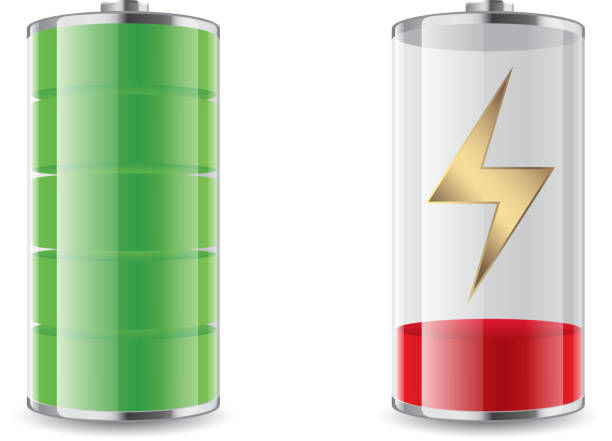 Battery charging Gradient and transparent effect used. battery stock illustrations