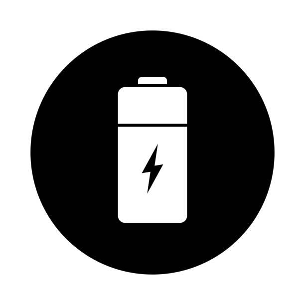 Batterie-Kreis-Symbol. Schwarz, rund, minimalistischen Symbol isoliert auf weißem Hintergrund. – Vektorgrafik