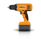 Battery drill isolated on white background. Vector illustration.