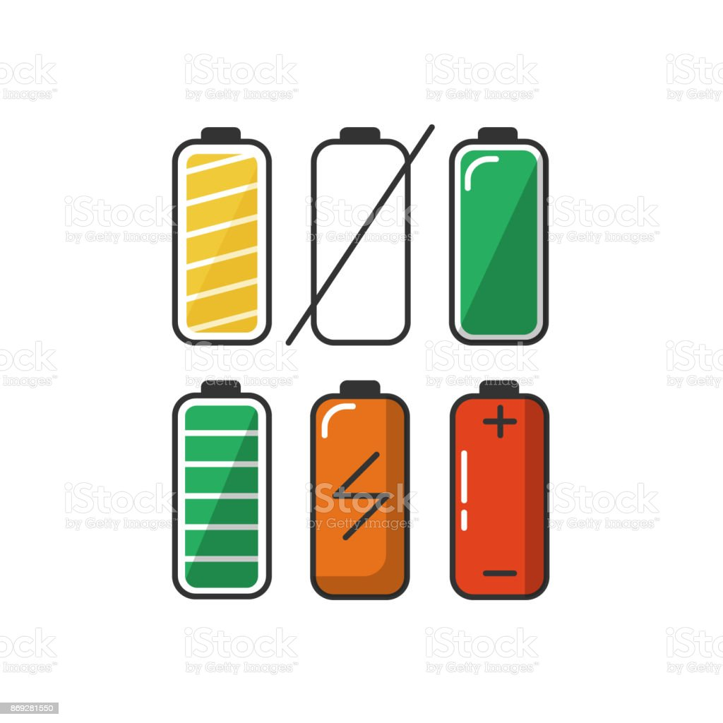 Battery icon set in flat style. vector art illustration