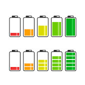 Battery Icon Set. Vector color battery energy symbol collection.