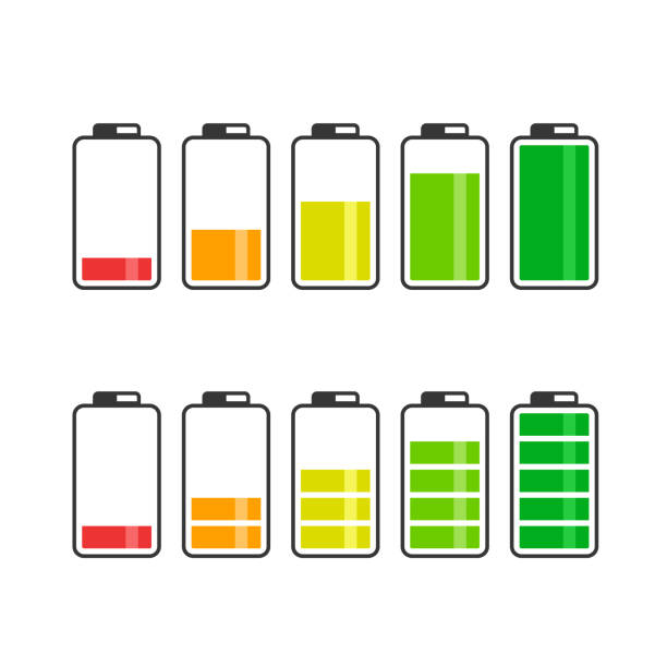 Battery Icon Set. Vector color battery energy symbol collection Battery Icon Set. Vector color battery energy symbol collection. rechargeable battery stock illustrations