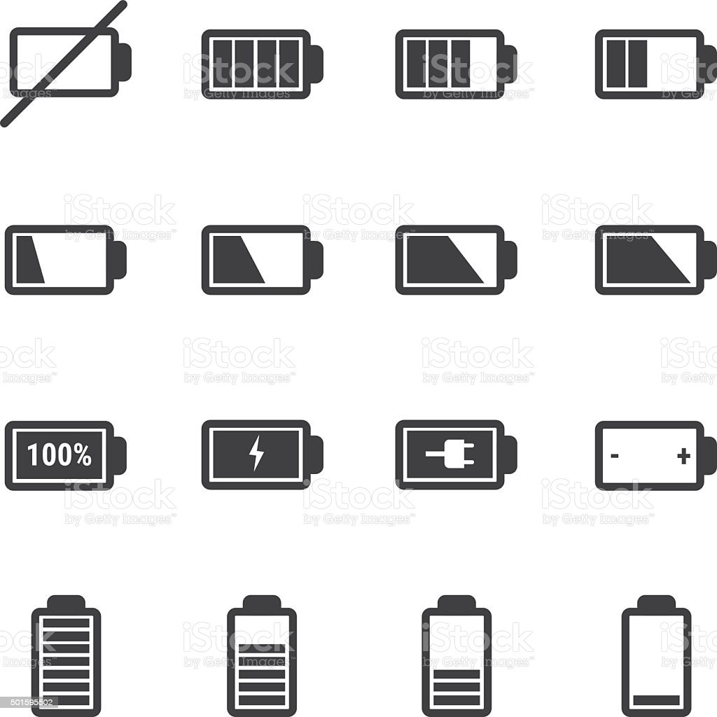 battery icon set vector art illustration
