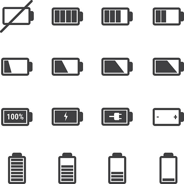 battery icon set battery icon set lithium stock illustrations