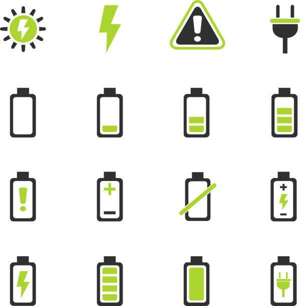 battery icon set battery web icons for user interface design rechargeable battery stock illustrations