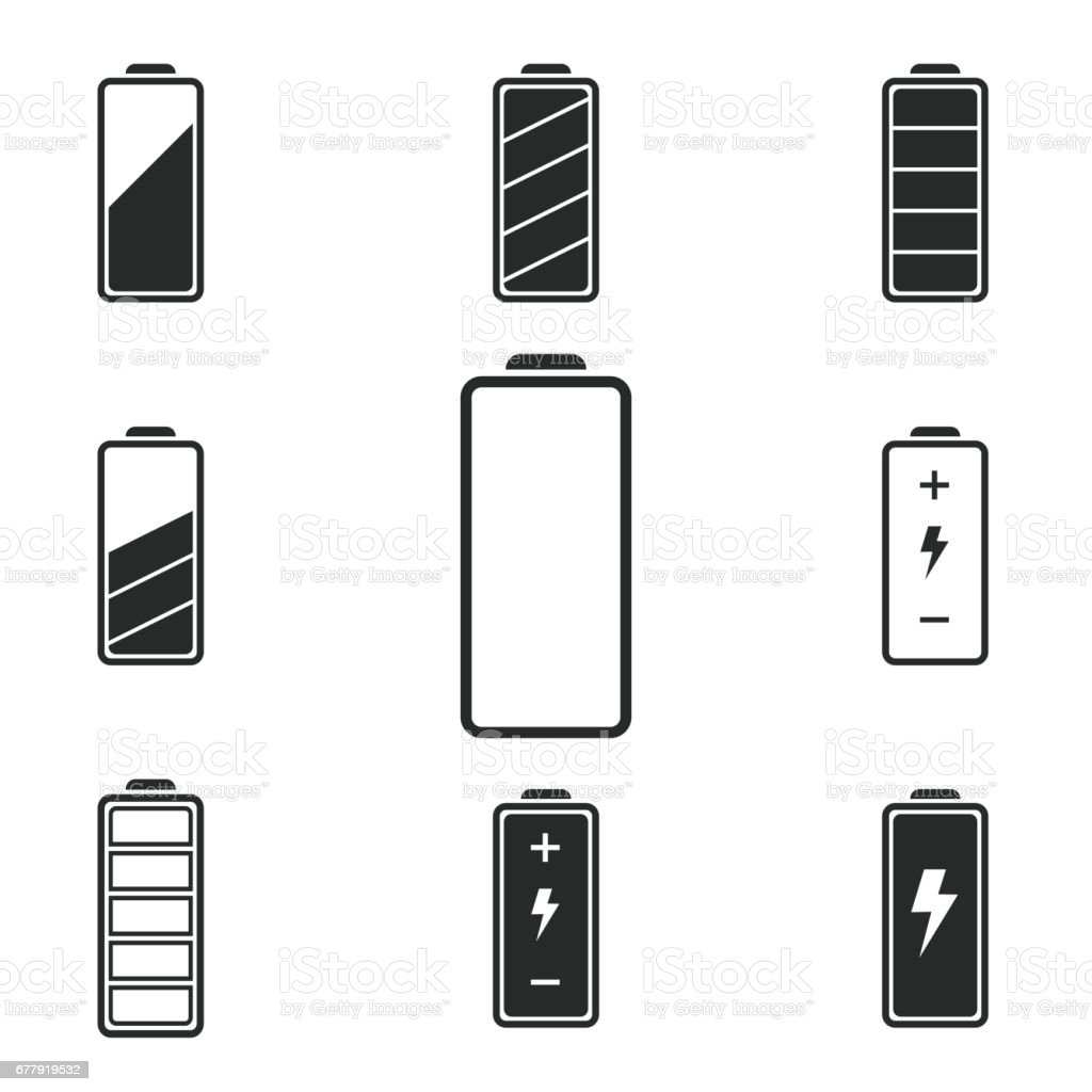 Battery icon set. royalty-free battery icon set stock vector art & more images of alkaline