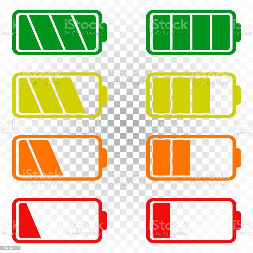 Batteriesymbol Vektor Auf Isolierte Hintergrund Gesetzt Symbole Der ...
