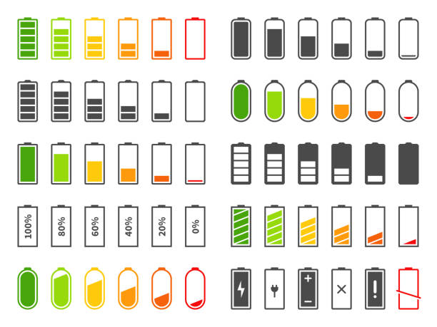 Battery icons. Charging level batteries charge indicator, alkaline tags rechargeable levels. Full, low and empty battery vector set Battery icons. Charging level batteries charge indicator, alkaline tags rechargeable levels. Full, low and empty battery vector cell percentage charger power bar set lithium stock illustrations