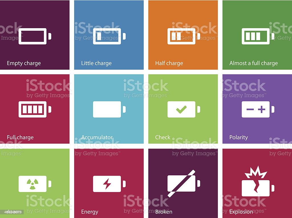 Battery icons on color background. vector art illustration