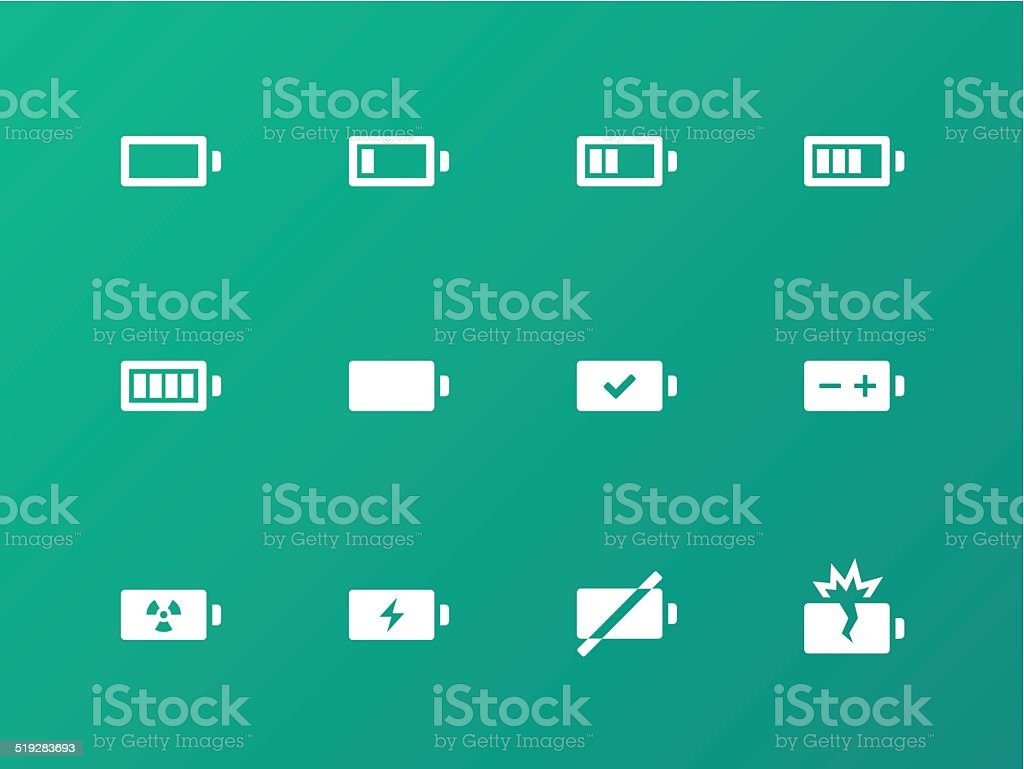 Battery icons on green background. vector art illustration