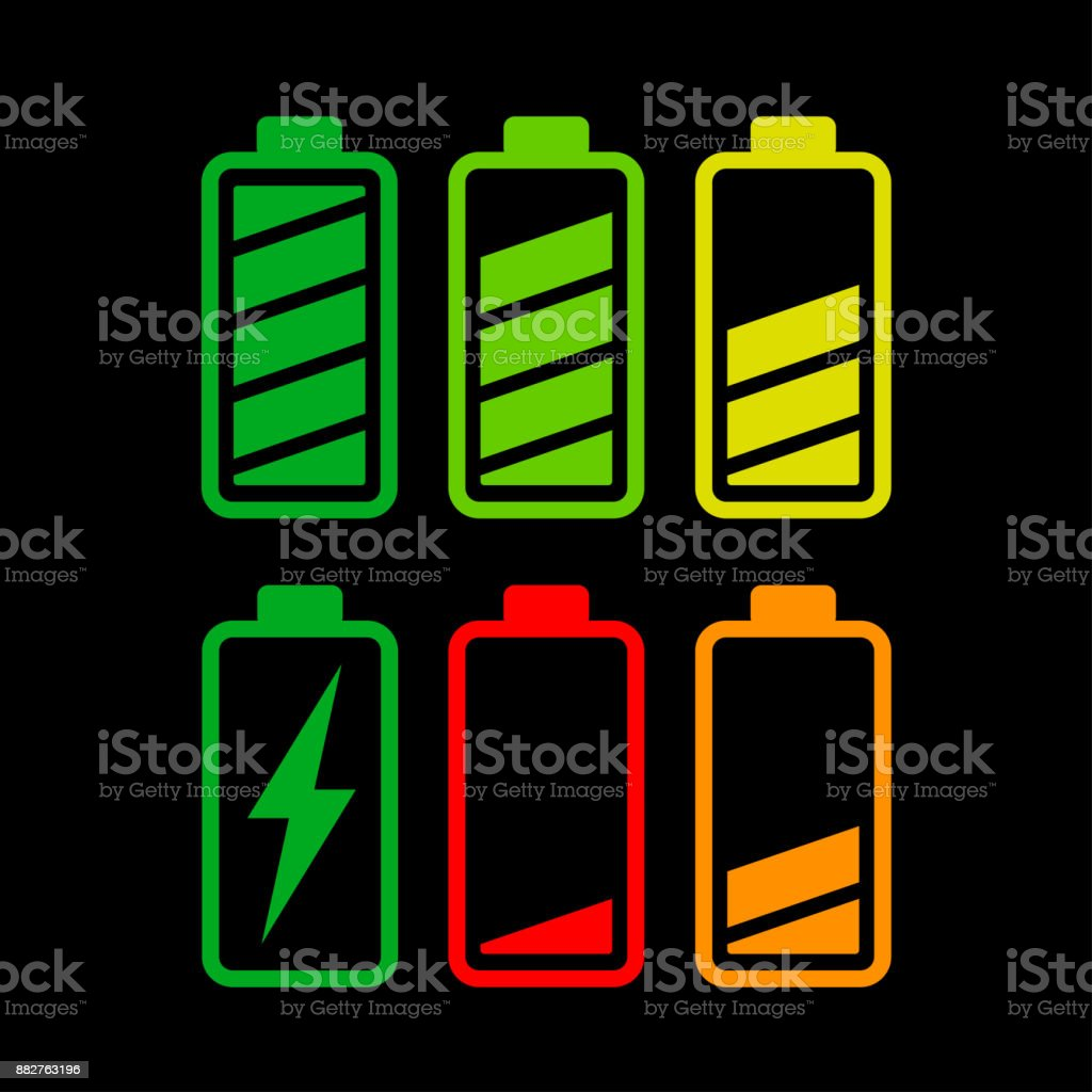battery icons on white background vector art illustration