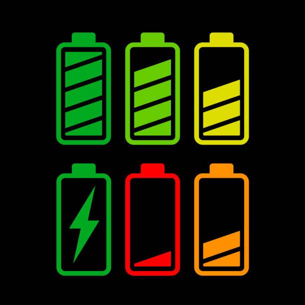 Batteriesymbole auf weißem Hintergrund – Vektorgrafik