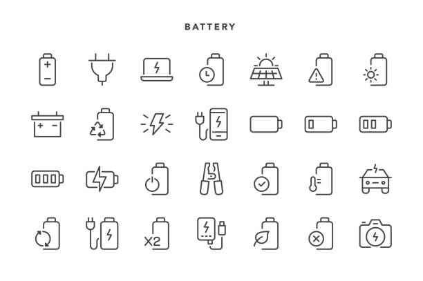 Battery Icons Battery Icons - Vector EPS 10 File, Pixel Perfect 28 Icons. rechargeable battery stock illustrations