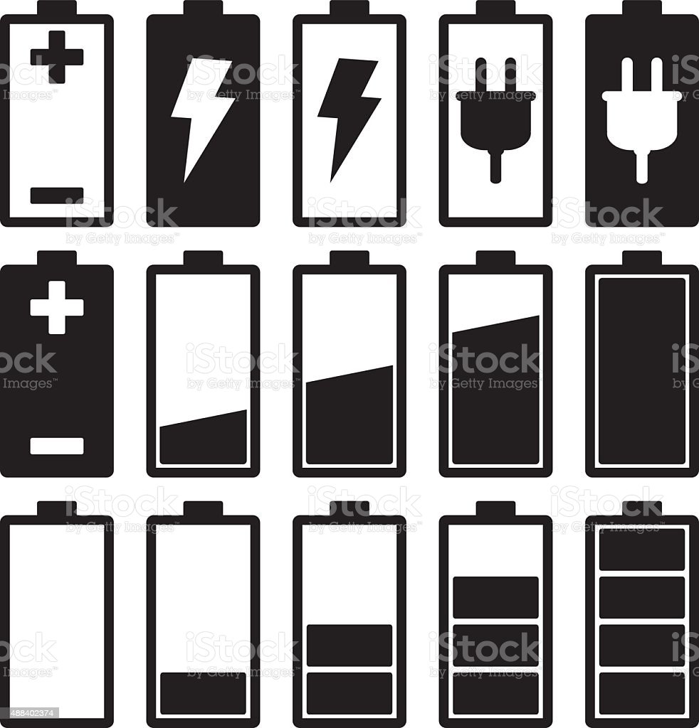Battery Icons vector art illustration