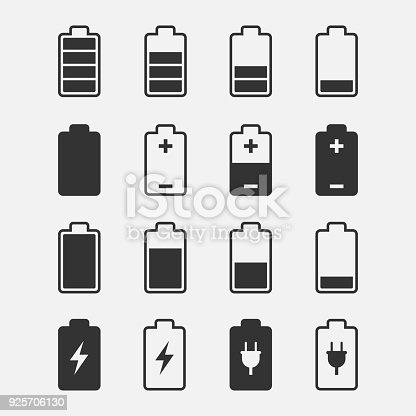 Battery icons vector set of isolated from the background. Symbols of battery charge level, full and low. The degree of battery power.