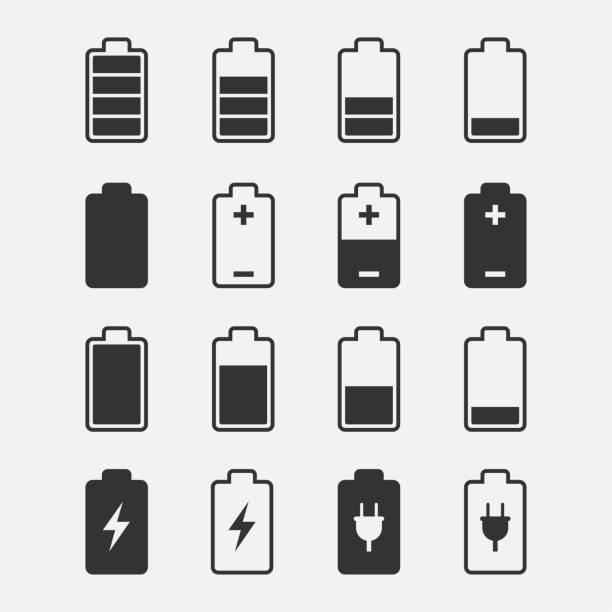 Battery Icons vector set Battery icons vector set of isolated from the background. Symbols of battery charge level, full and low. The degree of battery power. lithium stock illustrations