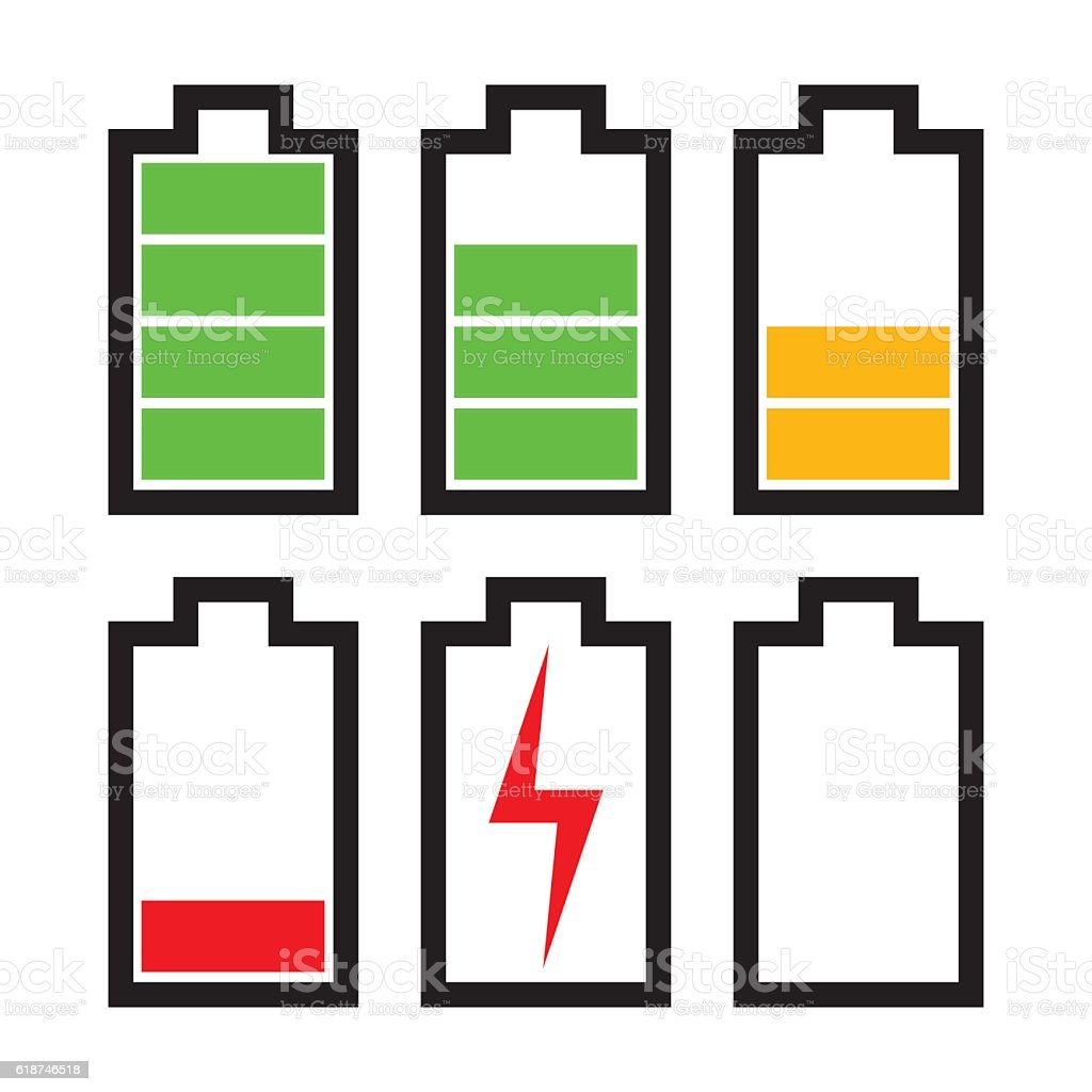 Battery icons with different charge status vector art illustration