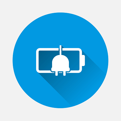 Battery indicator icon on blue background. Flat image with long shadow.