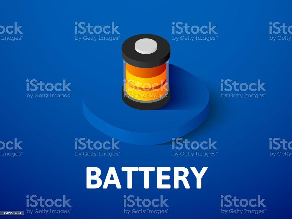 Battery isometric icon, isolated on color background vector art illustration