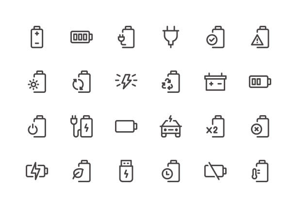 Battery - Line Icons Battery - Line Icons - Vector EPS 10 File, Pixel Perfect 24 Icons. lithium stock illustrations