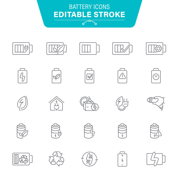Battery Line Icons Smartphone, Devices, Power Line, Electrical Component, Lightning, Editable Stroke Icon Set lithium stock illustrations