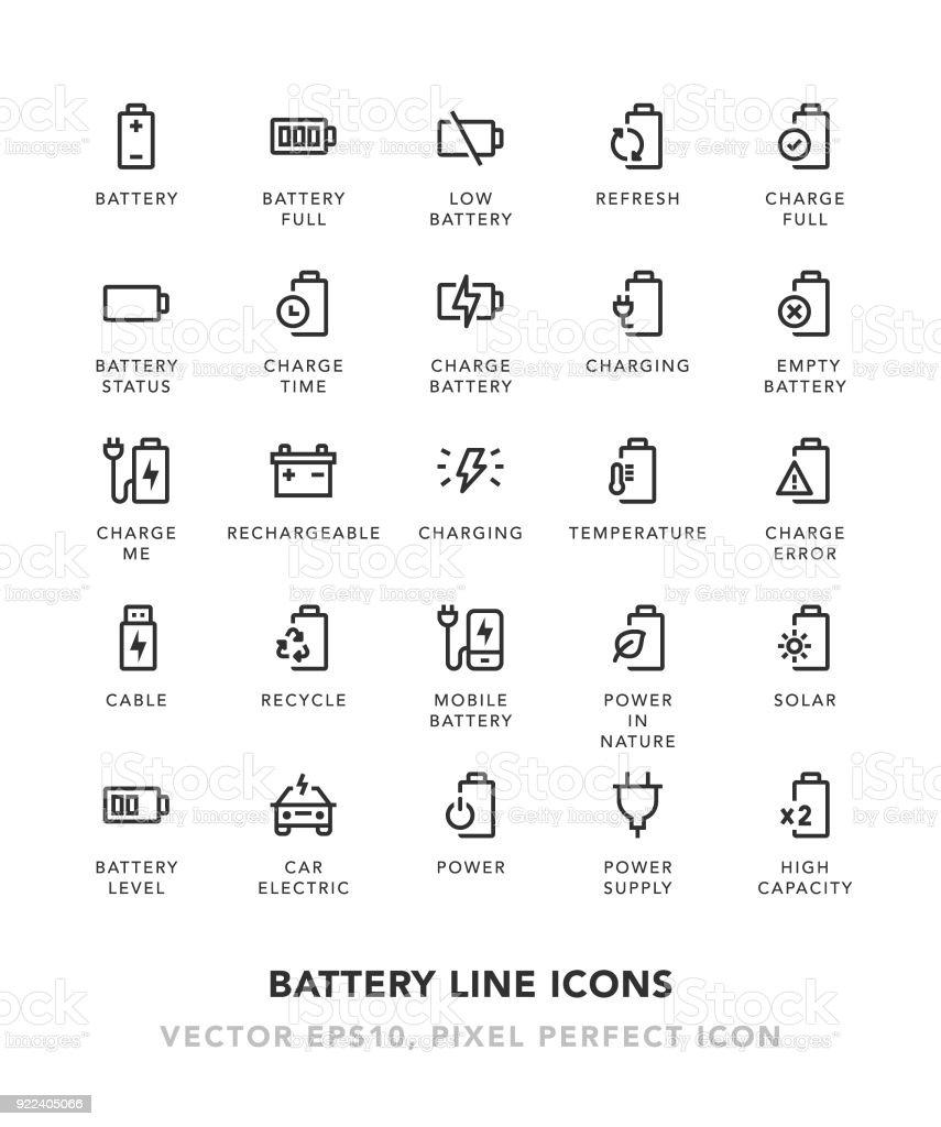 Battery Line Icons vector art illustration