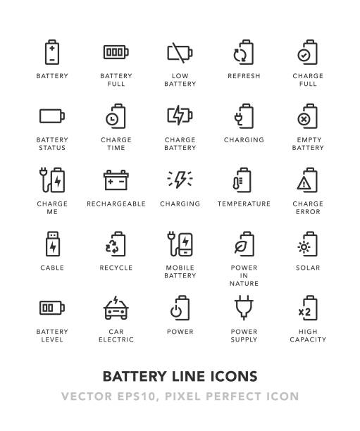 Battery Line Icons Battery Line Icons Vector EPS 10 File, Pixel Perfect Icons. rechargeable battery stock illustrations