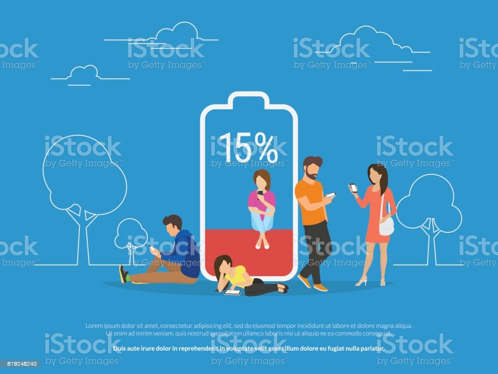 Battery low energy to running in flat cartoon version vector art illustration