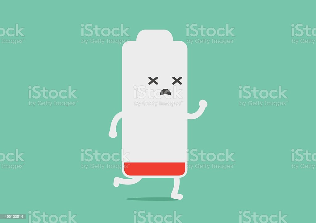 Battery low energy to running vector art illustration