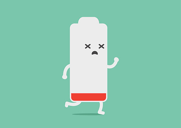 Battery low energy to running Battery low energy to running in flat cartoon version tired stock illustrations