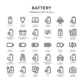 Battery - Medium Line Icons - Vector EPS 10 File, Pixel Perfect 30 Icons.