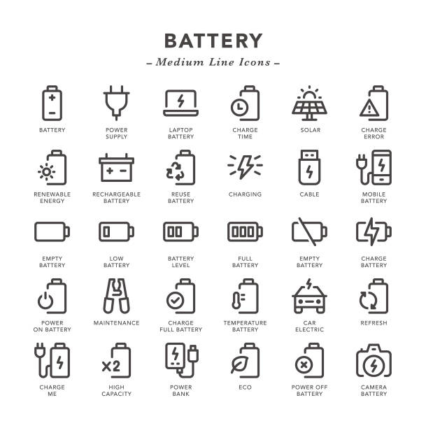 Battery - Medium Line Icons Battery - Medium Line Icons - Vector EPS 10 File, Pixel Perfect 30 Icons. rechargeable battery stock illustrations