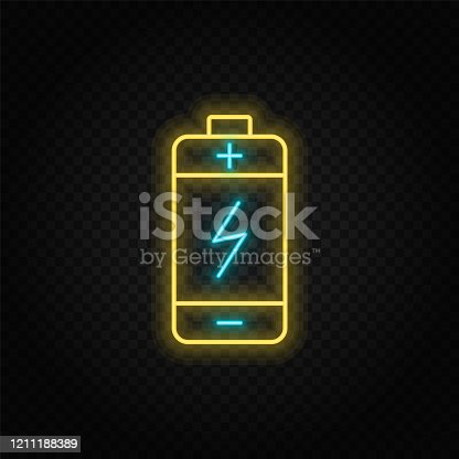 battery neon vector icon. Blue and yellow neon vector icon. Vector transparent background
