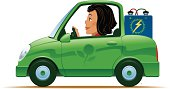Battery operated green car