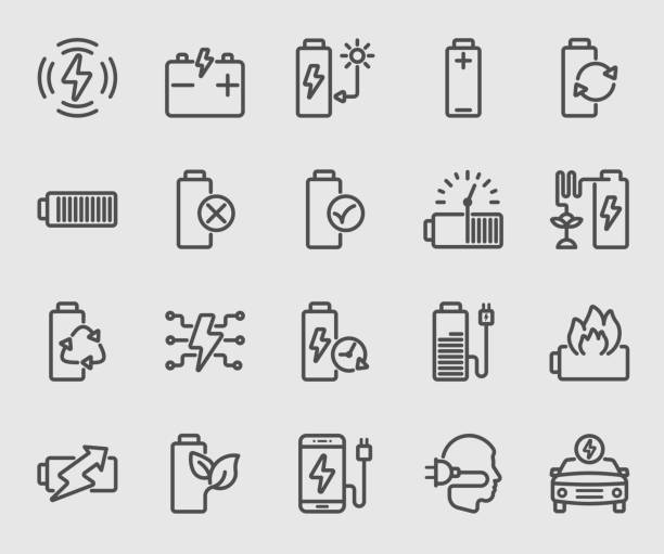 Battery power and Energy line icon Battery power and Energy line icon rechargeable battery stock illustrations