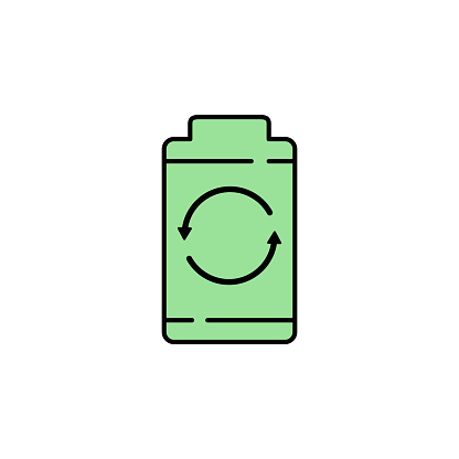 Battery Power Recycle Icon Element Of Sustainable Energy Icon For