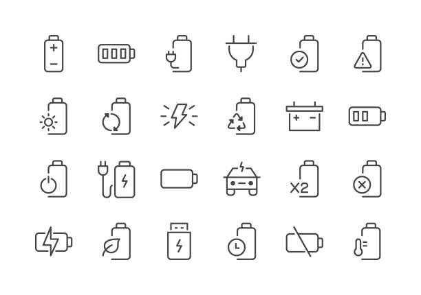 Battery - Regular Line Icons Battery - Regular Line Icons - Vector EPS 10 File, Pixel Perfect 24 Icons. rechargeable battery stock illustrations