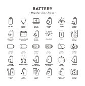 Battery - Regular Line Icons - Vector EPS 10 File, Pixel Perfect 30 Icons.