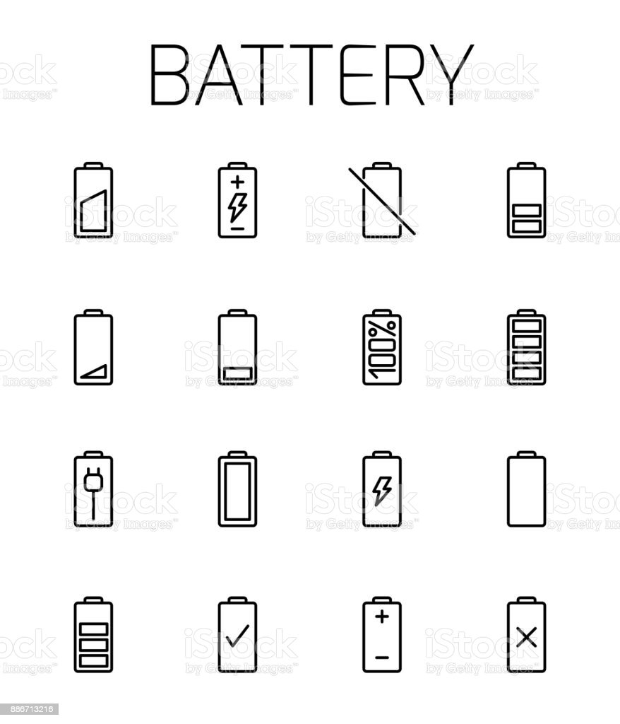 Battery related vector icon set. vector art illustration