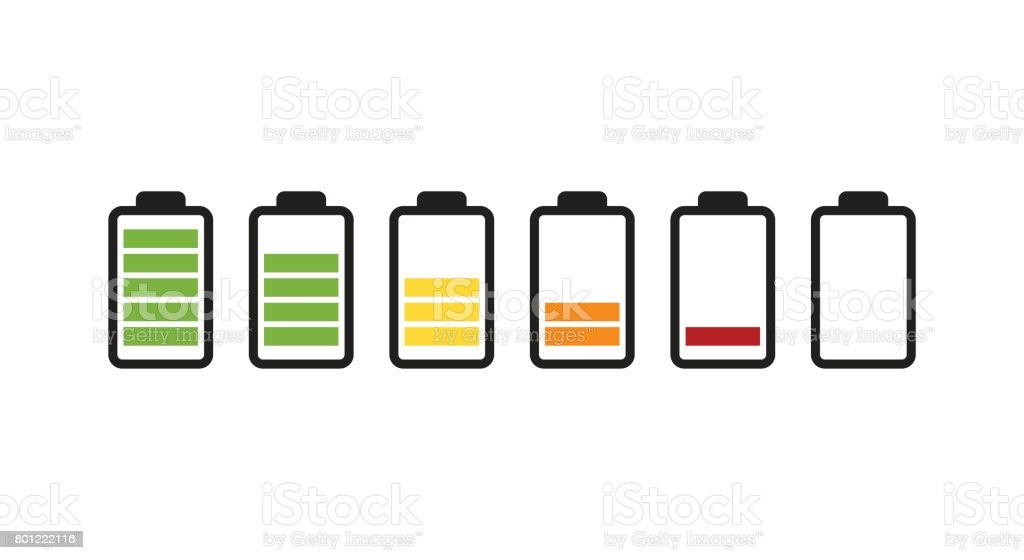 Battery running out of charge icon vector art illustration