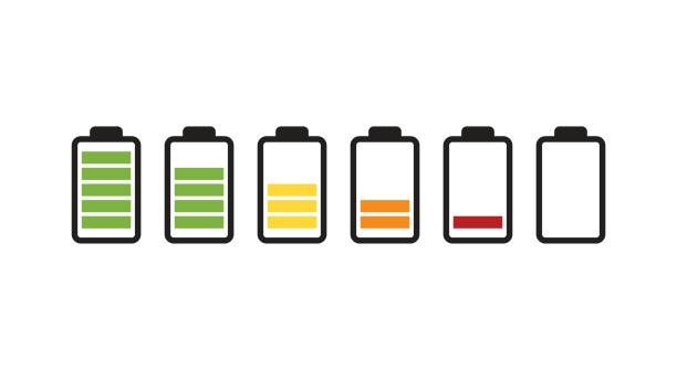 Battery running out of charge icon Vector battery icon. Charge from high to low. rechargeable battery stock illustrations