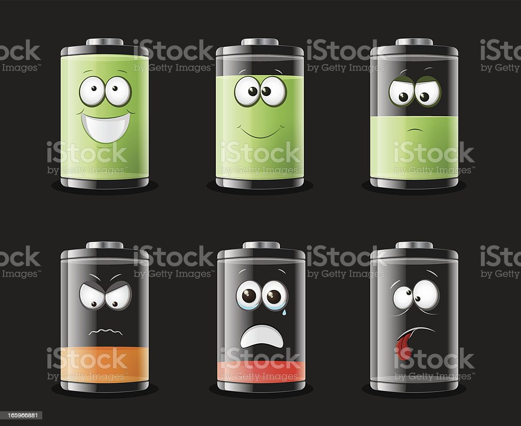 Battery status with various smiley faces royalty-free stock vector art