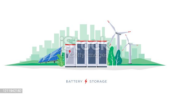 istock Battery Storage System with Electric Solar Wind Power Station 1211942182