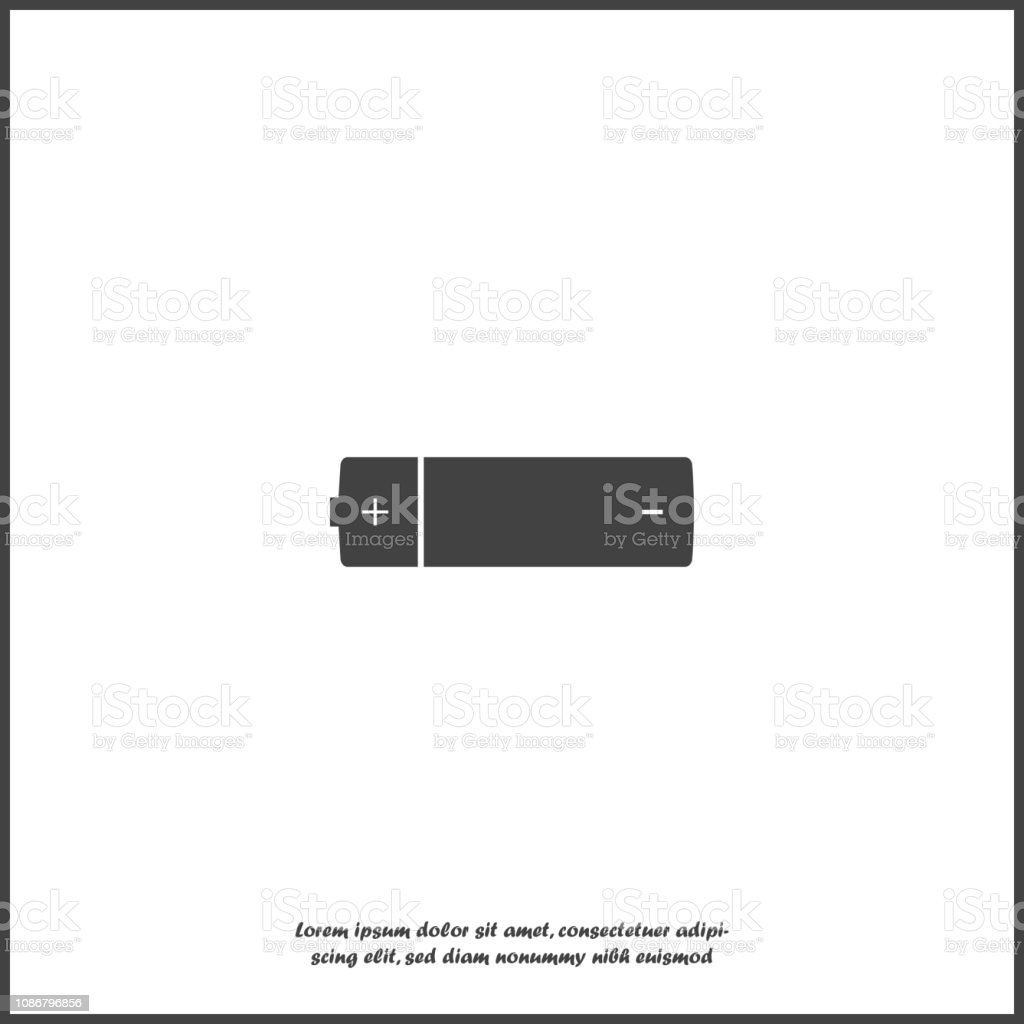 Battery vector icon. The symbol of energy on white isolated background. vector art illustration